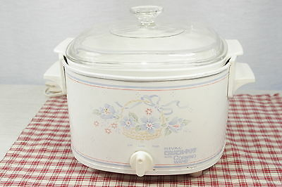 RIVAL Crock Pot with 3 Qt. CORNING WARE Country Cornflower casserole #3753, EXC!