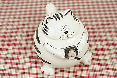 "Pier One FAT CAT with Mouse, Black and White Teapot, 6"" High  MINT!"