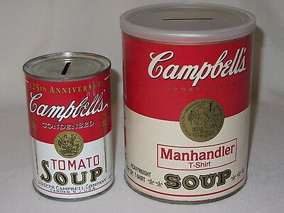 2 Vtg Campbells Soup Can Bank 125th Anniversary & TShirt Manhandler Container