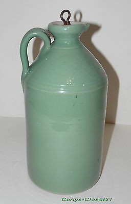 "LARGE RARE VINTAGE GLAZED STONEWARE FLAGON * Metal Screw Top * 11"" (28cm) Tall b"