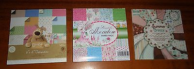 CRAFT Wedding CARD MAKING Patterned Paper 6 x 6 Pad (3) 48, 36 and 13 Sheets