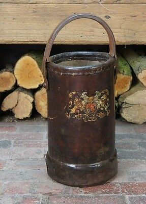 Antique Leather Cordite Carrier with Crest of Arms Military
