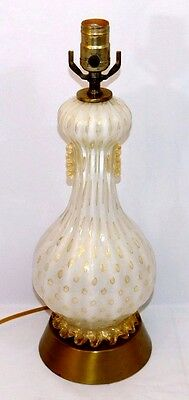 Vintage Mid-Century ~Murano~ Barovier Toso Art Glass Table Lamp w/ Gold Fleck