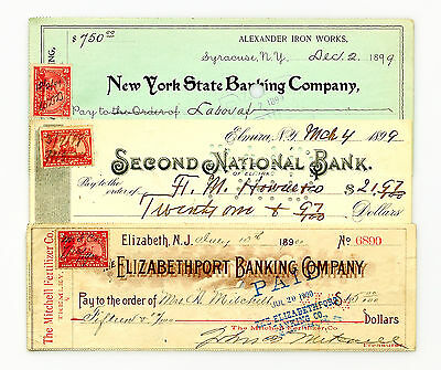 3 diff. 1898-1900 documentary stamp bank checks USA nice used