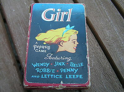 vintage Pepys Girl 1950s fifties playing cards complete with rules retro