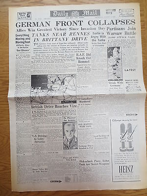 WW2 Wartime Newspaper Daily Mail August 3 1944 German Front Collapses FRANCE