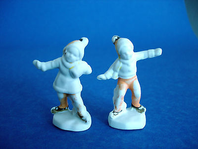 Pair Antique German Bisque Miniature Christmas Figurines - Boy & Girl Skating