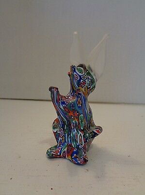 Vtg Murano Millefiori Satin Art Glass Frosted Bunny Rabbit Figurine Paperweight