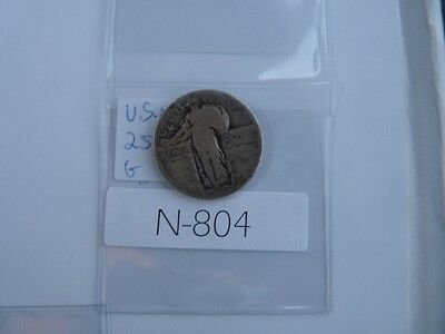 Vintage Usa  1928 25 Cent Silver Standing Liberty  N804