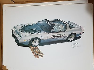 POSTER SIGNED PRINT INDY PACE CAR 1980 Pontiac Turbo Trans Am Pasteiner