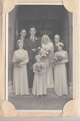 Bridal Party at Church door 1960's? in card frame. Barry's Studio, Hawick, Roxb