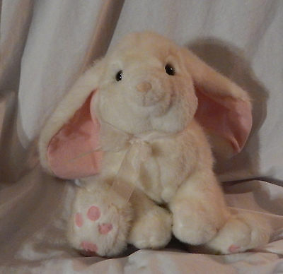 "10"" Powderpuff Russ Plush Bunny Rabbit Easter White Pink Bow 1182 Good"
