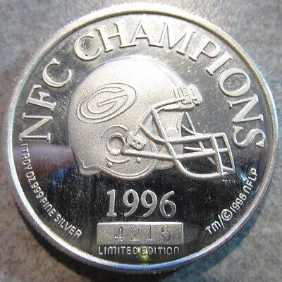 1996 Green Bay Packers NFC Champions Lambeau Field 1 Troy Oz. .999 Silver Round