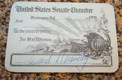 1970 Ted Kennedy Signed United States Senate Chamber Pass - 91st Congress