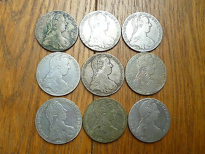 Nine (9) Maria Theresa Thalers, Large Silver Coins