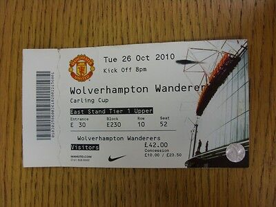 26/10/2010 Ticket: Manchester United v Wolverhampton Wanderers [Football League