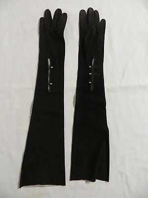 VINTAGE A Manco Women's Black Long Elbow Length Opera Formal Suede Gloves Roma