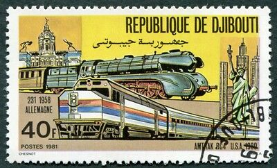 DJIBOUTI 1981 40f SG812 used NG Locomotives German 231 and American RC4 #W29