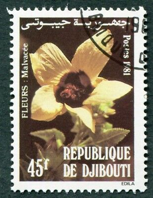 DJIBOUTI 1981 45f SG834 used FG NH Flowers Mallow #W29