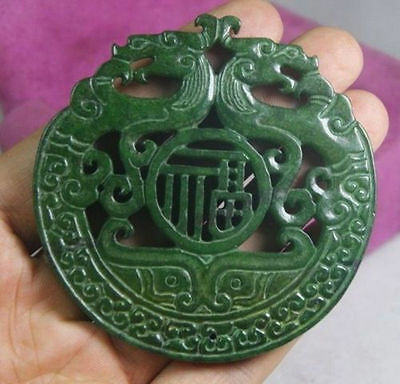 Chinese Old Handwork Green Jade Carved Dragon Pendant#068
