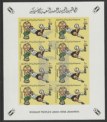 Libya 4347 - 1982 WORLD CUP FOOTBALL 100dh Imperf sheet of 8 with SILVER OPT u/m