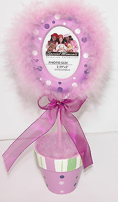 "Special Moments Purple FEATHER PICTURE FRAME Oval 2.25"" x 3"" Nursery Decor NEW"