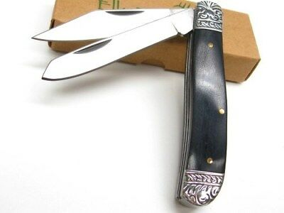 ELK RIDGE Black Wood GENTLEMAN'S  2 Blade Folding Pocket Knife New! ER-220BW