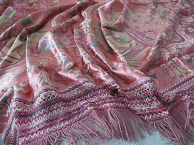 Vtg Antique Silky Damask Bedspread Throw Fringe PINK Roses Peacock Italy UNUSED