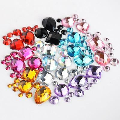 1000Pcs Mixed Sizes/Shapes Colours Round Resin Loose Flatback Crystal Stones