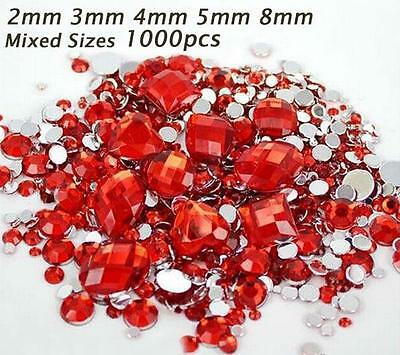1000Pcs Mixed Sizes/shapes Red Resin Loose Flatback Crystal Stones