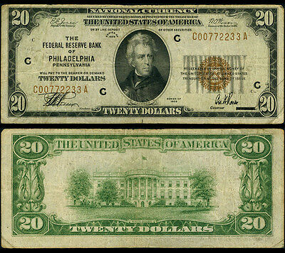 FR. 1870 C $20 1929 Federal Reserve Bank Note Philadelphia Fine+