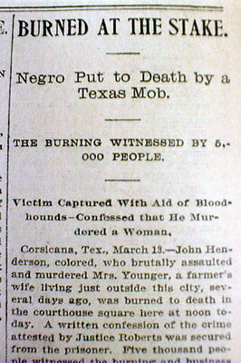 1901 newspaper NEGRO MAN is LYNCHED @ CORSICANA Texas  BURNED ALIVE at the STAKE
