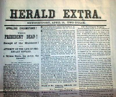 Best15 Civil War display newspapers LINCOLN ASSASSINATION 1865 John Wilkes Booth