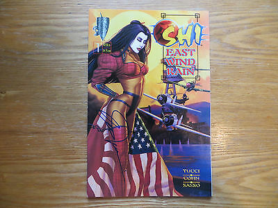Crusade Comics Shi East Wind Rain # 1 Signed By Creator Billy Tucci, With Poa