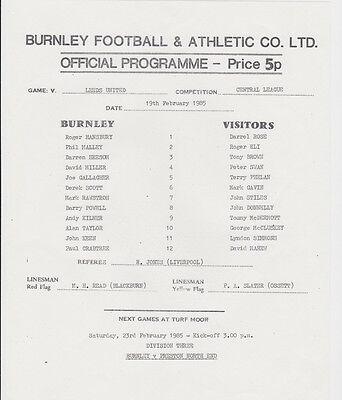 Football Programme>BURNLEY RESERVES v LEEDS UTD RESERVES Aug 1985