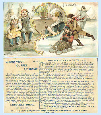 Arbuckle Coffee 1893 Trade Card Sports & Pastimes #8 Holland Skating FIshing