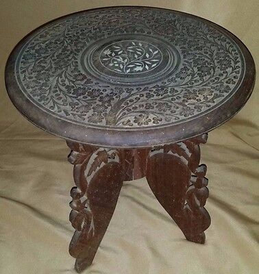 "SMALL Vintage Carved TEAK Wood Wooden Inlay Folding Table PLANT Stand 9""H"