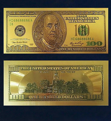 24K Gold Plated $100 Novelty Dollar Bill Old Series With Currency Sleeve