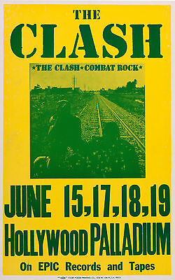 THE CLASH Concert Window Poster - Hollywood Palladium 1982 PUNK Band reprint