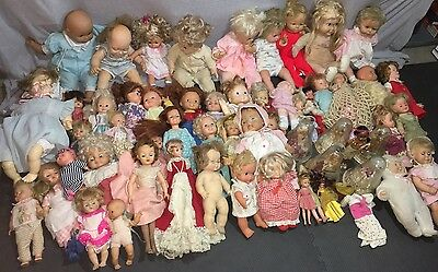 HUGE Vintage Baby Doll LOT of 60+ 60's 70's 80's All Different + Clothes Extras