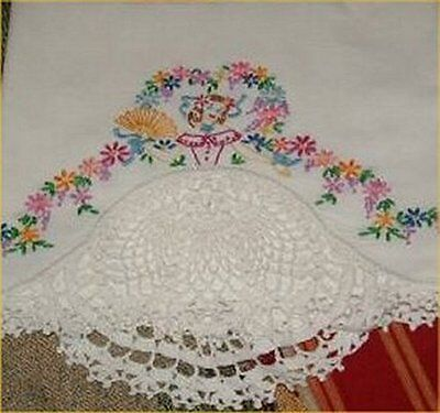 Lovely Vintage Southern Belle Transfer Pillowcases PATTERN Embroidered Crocheted
