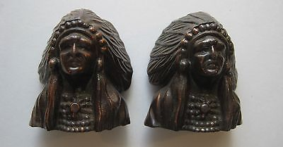 Vintage Copper Tone Metal Indian Chief Head Salt & Pepper Shakers Cork Stoppers