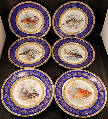 """Lot of SIX (6) Schumann Bavaria Fish Dinner / Cabinet Plate 9 5/8"""" GREAT COND."""