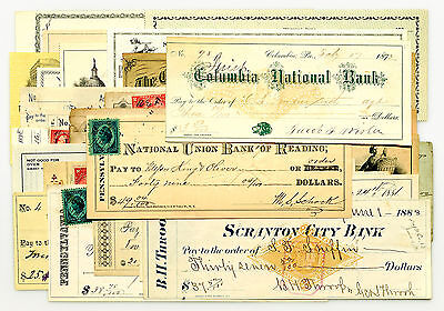 30 diff. USA old bank checks most 1900's-1960's nice used & unused