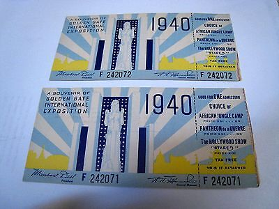 1940 Golden Gate Int'l Exposition FULL TICKET Consecutive Numbers SAN FRANCISCO
