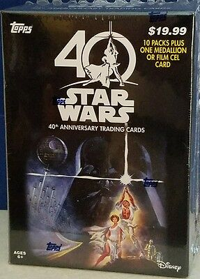 Star Wars 40th Annyversary Cards 10 Packs + 1 Medallion or Film card.