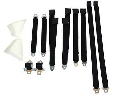PG Classic 2850-70Buk-100 Mopar 1970 E-Body Bucket Seat Belt Set Black