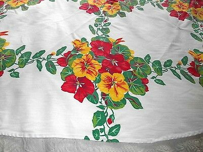 """Vintage Tablecloth White Cotton With Yellow & Red  Pansies 46"""" x 49"""""""
