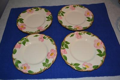 4 Franciscan Pink Desert Rose Bread and Butter B&B salad plates gold stamp