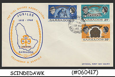 Barbados - 1968 Golden Jubilee Of Girl Guides / Girl Scouts - 3V Fdc
